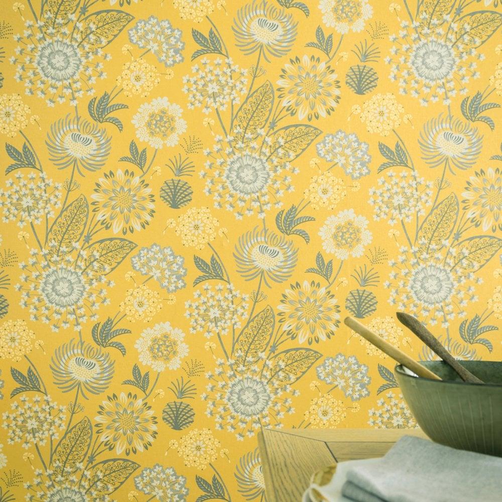 Vintage Bloom Large Floral Wallpaper Yellow Retro Flower Arthouse