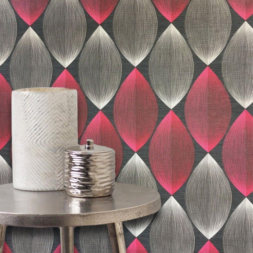Adelaide 3d Symmetry Wallpaper Trendy Geometric Grey Red Modern Retro