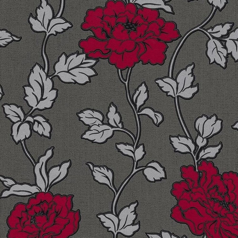 Adelaide Floral Glitter Wallpaper Chintz Flower Red Grey Traditional