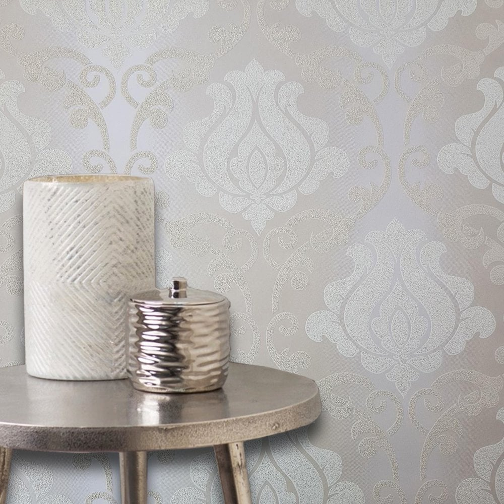 Adelaide French Damask Wallpaper Sparkle Glitter Baroque As Creation