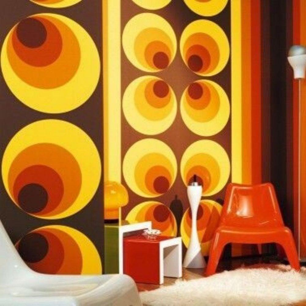 AS Creation Apollo 20's Big Retro Circle Wallpaper Orange