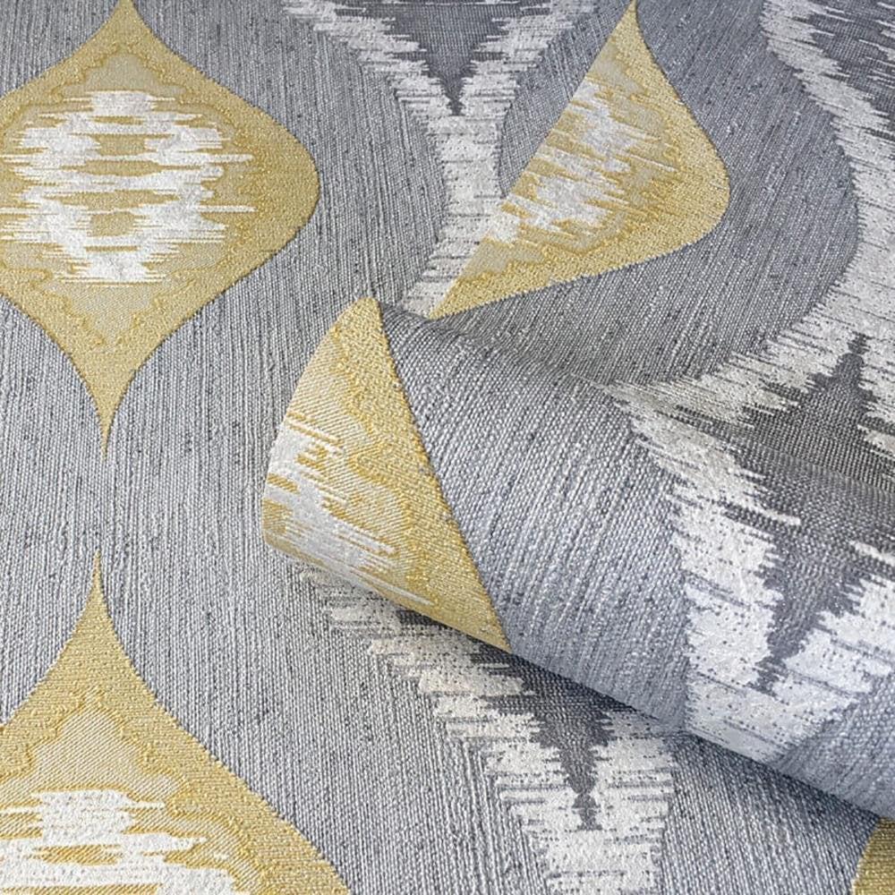 Belgravia Decor Eleganza Ikat Block Pattern Wallpaper Yellow Grey Wallpaper From Wallpapershop Co Uk Uk