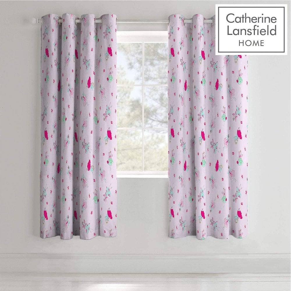 Catherine Lansfield Fairies Girls Curtains Eyelet 66 X 72 Pink Home Textiles From Wallpapershop Co Uk Uk