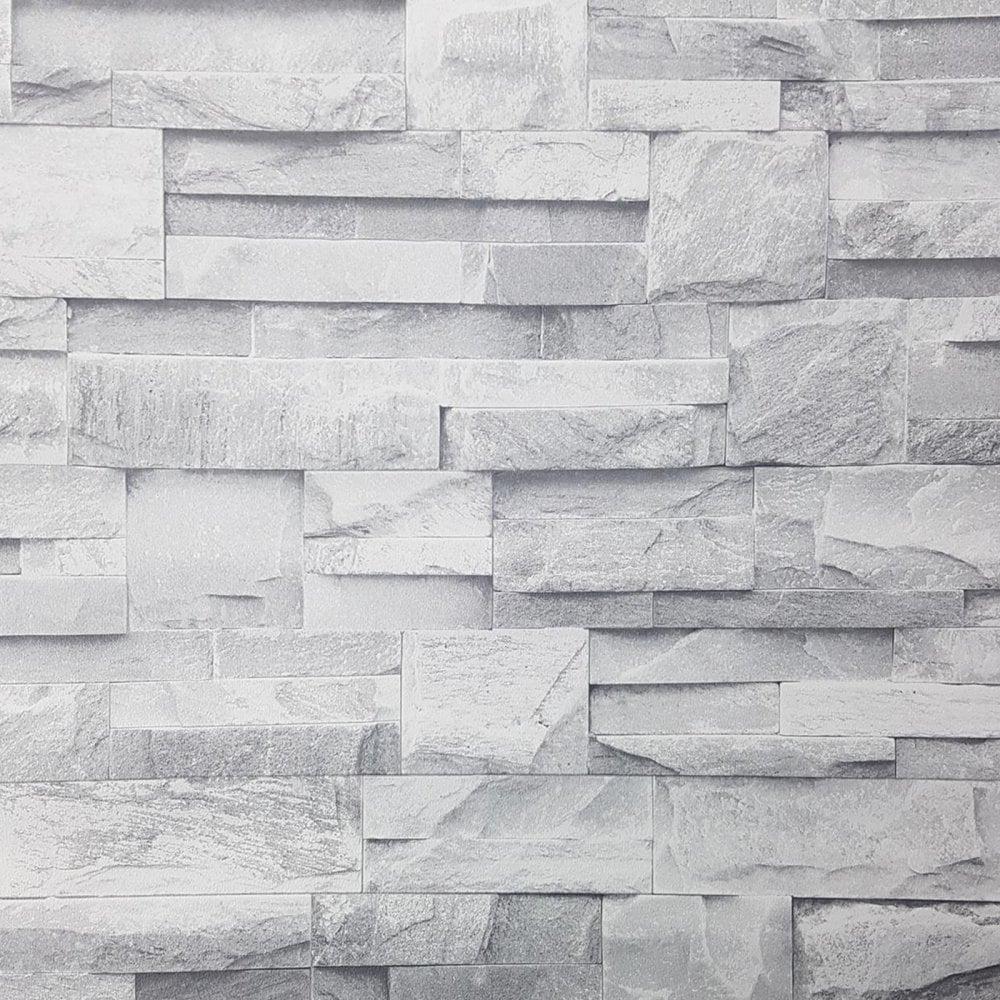 3d Stone Wall Effect Wallpaper Grey Beige Debona Slated Walling Realistic