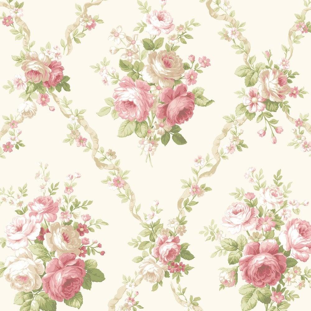 Avington House Vintage Floral Wallpaper Red