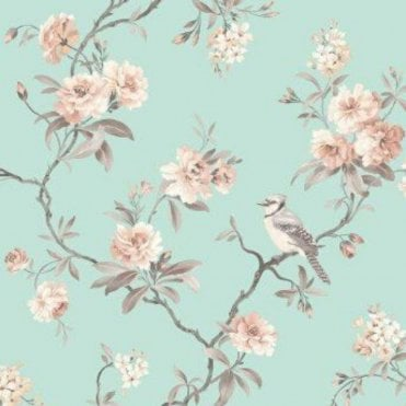 Fine Decor Lottie Pink Floral Birds Wallpaper Metallic Shimmer Trees Silver