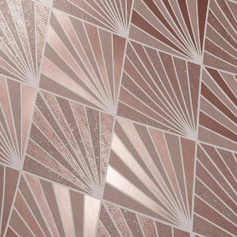 Aster Art Deco Wallpaper Rose Gold Love Metallic Pink 20's ...