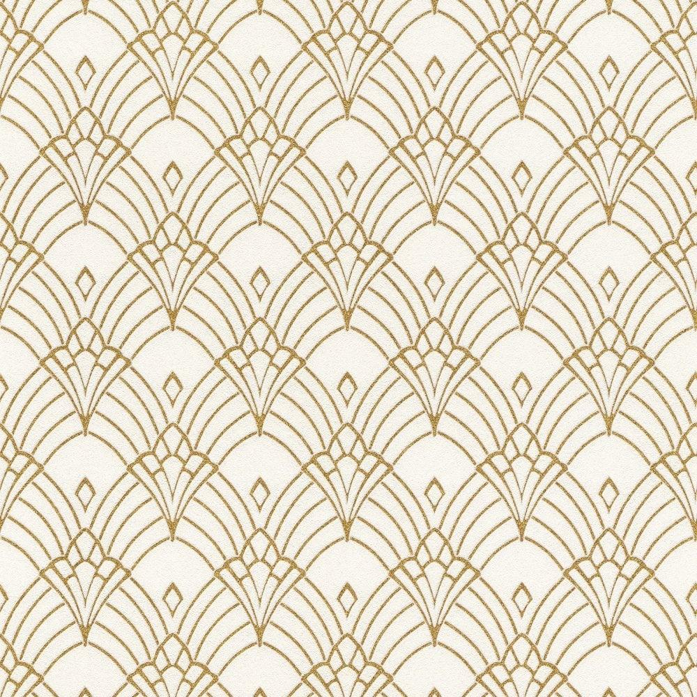 Art Deco Geometric Fan Wallpaper Gold 1920's Golden Rasch ...